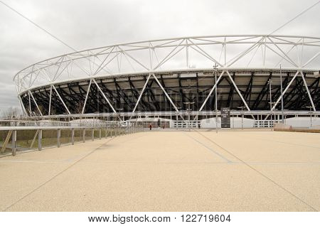 LONDON UK - MARCH 19 2016: The former stadium now converted for the use of West Ham United football club in Queen Elizabeth Park Stratford.