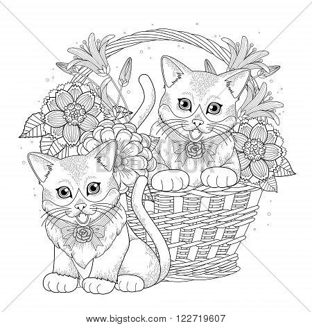adorable kitty in basket coloring page in exquisite line