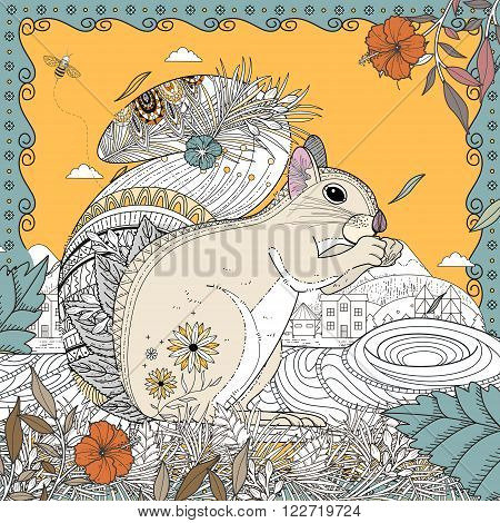 adorable squirrel coloring page in exquisite line