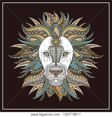 imposing lion coloring page in exquisite line