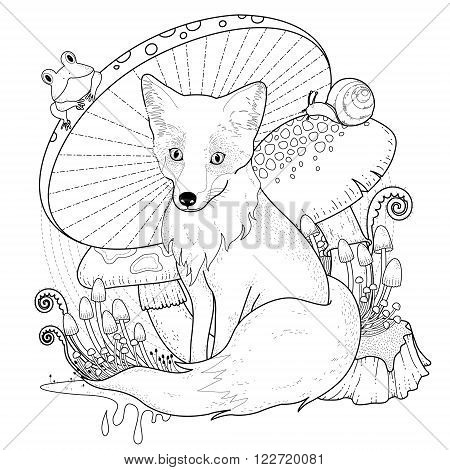 Adorable Fox Coloring Page