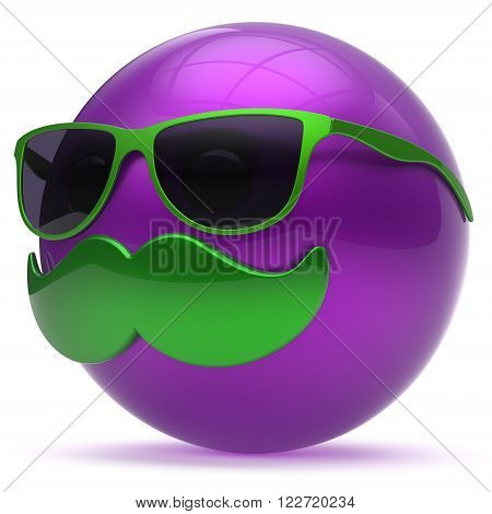 Smiling mustache face cartoon emoticon purple ball happy joyful handsome person caricature sunglasses icon. Cheerful eyeglasses laughing fun sphere positive smiley character avatar. 3d render