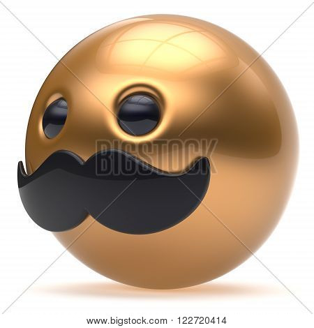 Cartoon golden black mustache face cute emoticon ball happy joyful handsome person caricature stylish icon. Cheerful laughing fun sphere positive smiley character avatar. 3d render