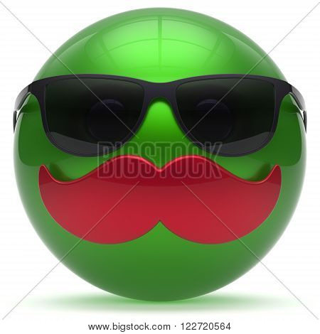 Smiling cartoon mustache face green emoticon ball happy joyful handsome person sunglasses caricature icon. Cheerful eyeglasses laughing fun sphere positive smiley character avatar. 3d render isolated