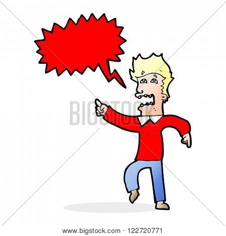 cartoon frightened man pointing with speech bubble