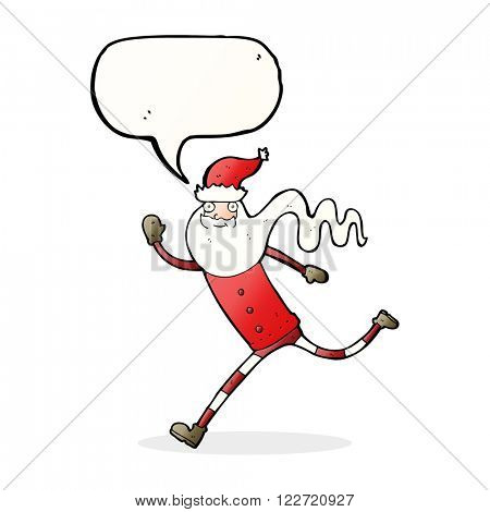 cartoon running santa with speech bubble