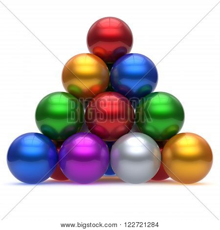 Pyramid corporation sphere ball red top order leadership element teamwork hierarchy stable group business concept multicolor different colors colorful shiny sparkling icon. 3d render isolated