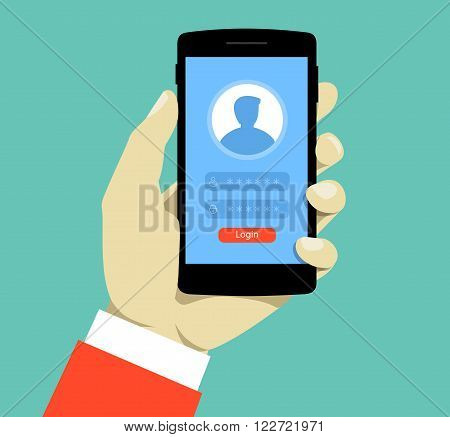 Login page on smartphone screen. Hand hold smartphone. Mobile account.  Creative flat design vector illustration.