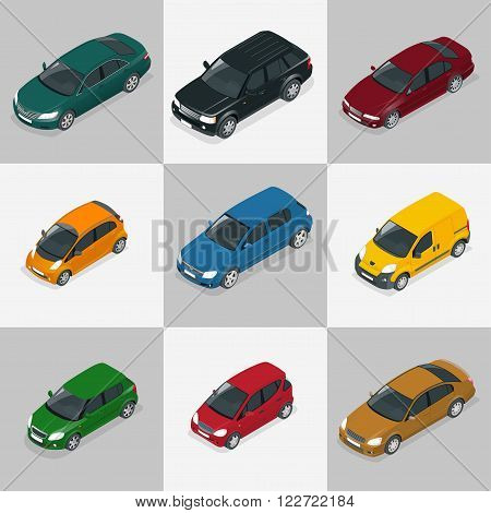 Modern Car. Car icons. Flat 3d isometric vector illustration car icon. High quality city transport