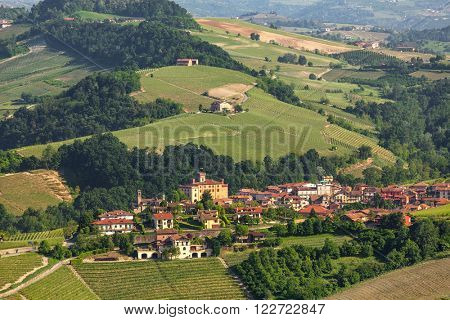 Town of Barolo among green hills of Piedmont, Northern Italy.