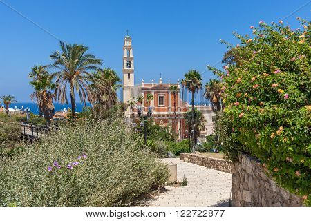 View of Saint Peter's church among green trees, palms and bushes under blue sky in old jaffa, Israel.
