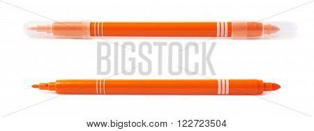 Felt-tip orange pen marker isolated over the white background