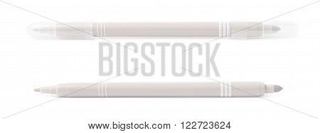 Felt-tip gray pen marker isolated over the white background