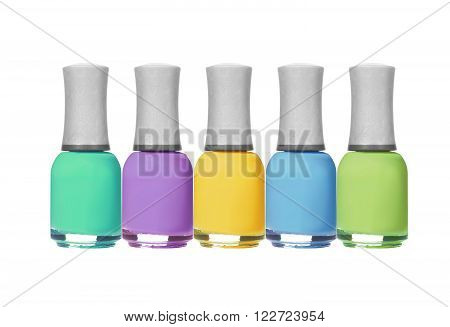 set of colorful nail polishes isolated on white background