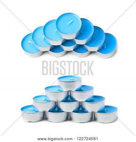 Pyramid of tealight paraffin wax blue candles isolated over the white background, set of two different foreshortenings