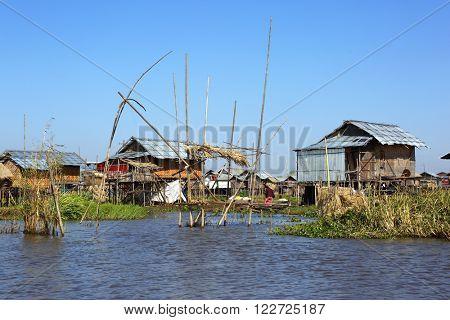Stilted houses in village on Inle lake, Myanmar (Burma)