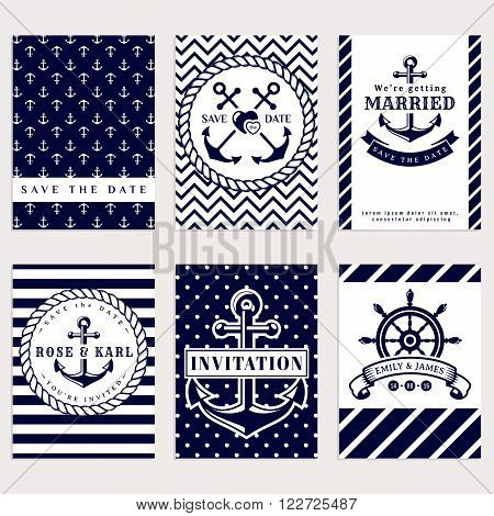 Nautical wedding invitation cards. Sea theme wedding party. Collection of elegant banners in white and dark blue colors. Vector set.
