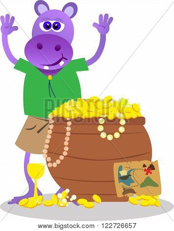 Young explorer hippo found a chest with full of gold.