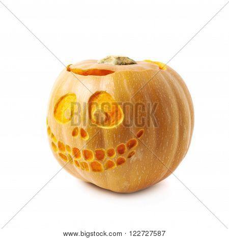 Smiling Jack-O-Lantern pumpkin isolated over the white background