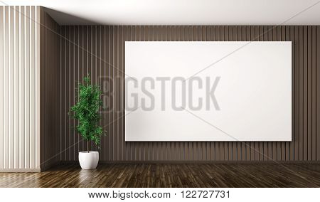 Empty Interior With Big Poster On The Wall 3D Render