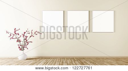 Empty Interior With Three Posters On The Wall 3D Render