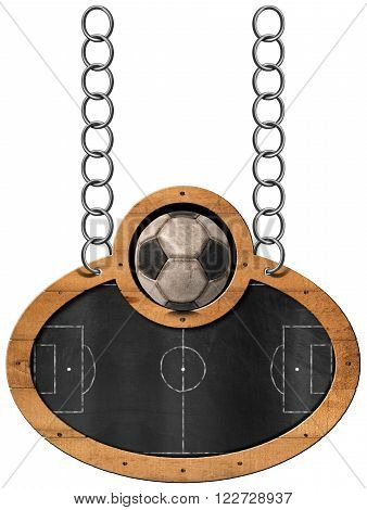 Oval blackboard with a football field (Usa Soccer) and an old ball. Hanging from a metal chain and isolated on white