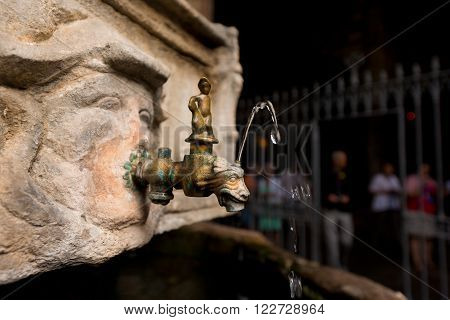 Detail of the fountain of St. George in Barcelona Cathedral the Holy Cross and Saint Eulalia. Catalonia Spain