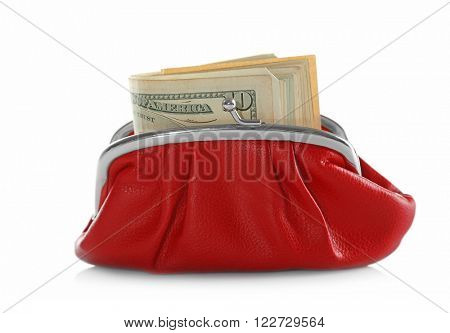Purse with dollar isolated on white