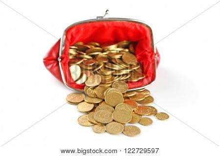 Purse  with coins isolated on white