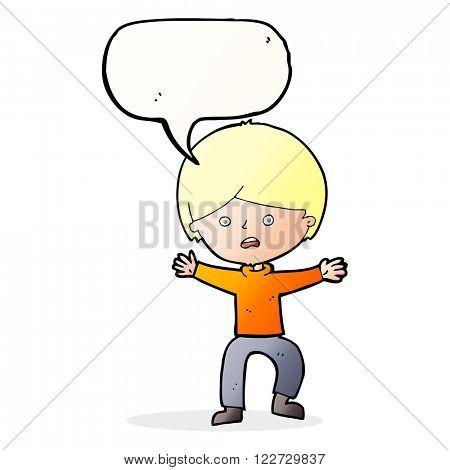 cartoon boy panicking  with speech bubble