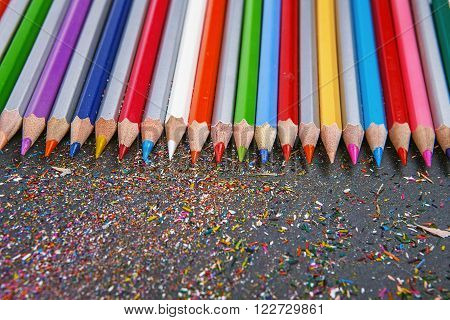 Sharpened Colored Pencils On Gray Background.
