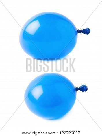 Water filled blue air balloon isolated over the white background, set collection of two different foreshortenings