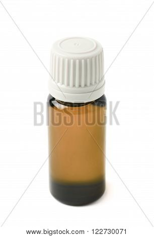 Small brown glass flask vial, composition isolated over the white background