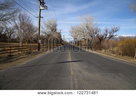 A clear American road in Bishop, California