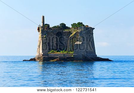 The Scola Tower (Torre Scola) XVII century in the Gulf of La Spezia or Gulf of poets (Golfo dei poeti). La Spezia, Liguria, Italy