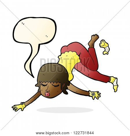 cartoon woman floating with speech bubble