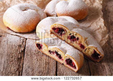 Pastries Ensaimada With Jam Close-up On The Table. Horizontal