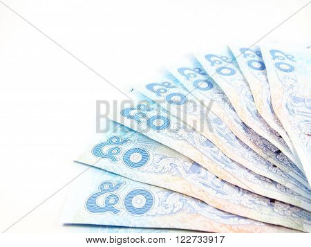50 of Thai Banknotes, thai number of baht money, isolated on white background