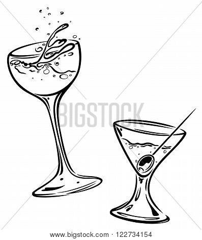 Set of cocktail glasses, black vector design elements.