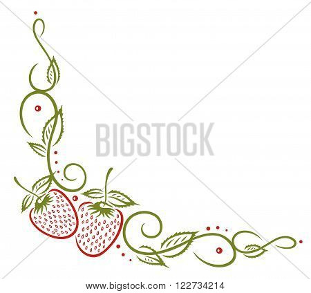 Filigree tendril with leaves and strawberries, green, and red.