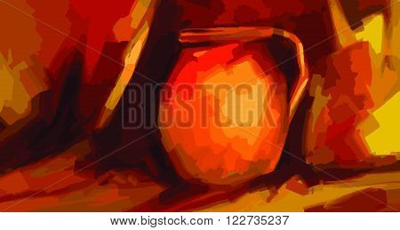 Digital Modern Art.Still life with clay pot - suitable for interior design, advertising and printing