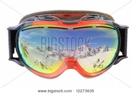 Ski Goggles On White