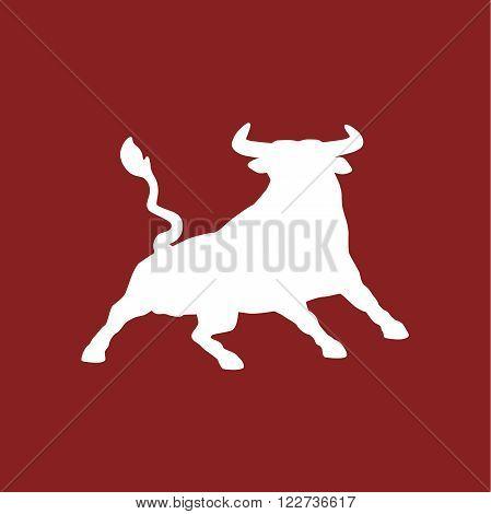 White bull on red background - vector illustration
