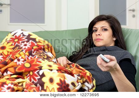 Woman Changing Tv Channels