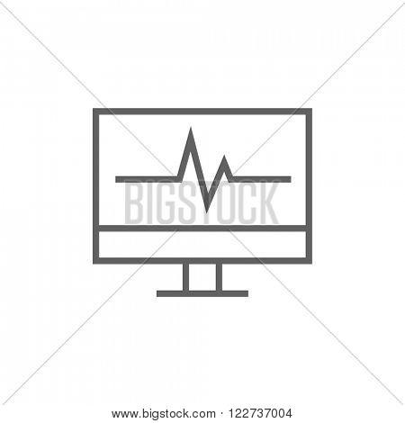 Heart beat monitor line icon.