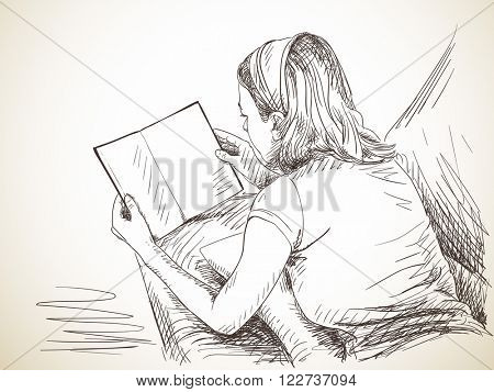 Sketch of woman reading book, Hand drawn illustration