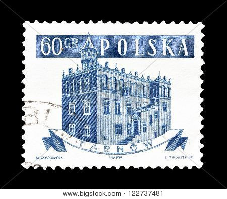 POLAND - CIRCA 1958 : Cancelled postage stamp printed by Poland, that shows City hall in Tarnow.
