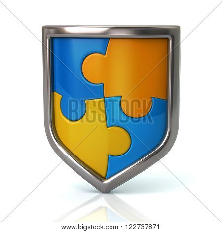 Shield With Blue And Yellow Puzzle Pieces