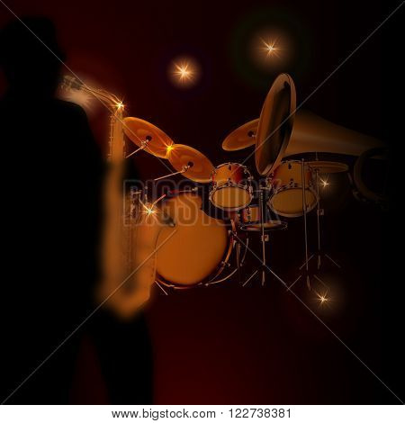 Vector illustration of a saxophonist on a dark background with lights from the trumpet and drums. Silhouette saxophonist drawn independently brush tool without the use of reference images.
