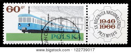 POLAND - CIRCA 1966 : Cancelled postage stamp printed by Poland, that shows Electric train.
